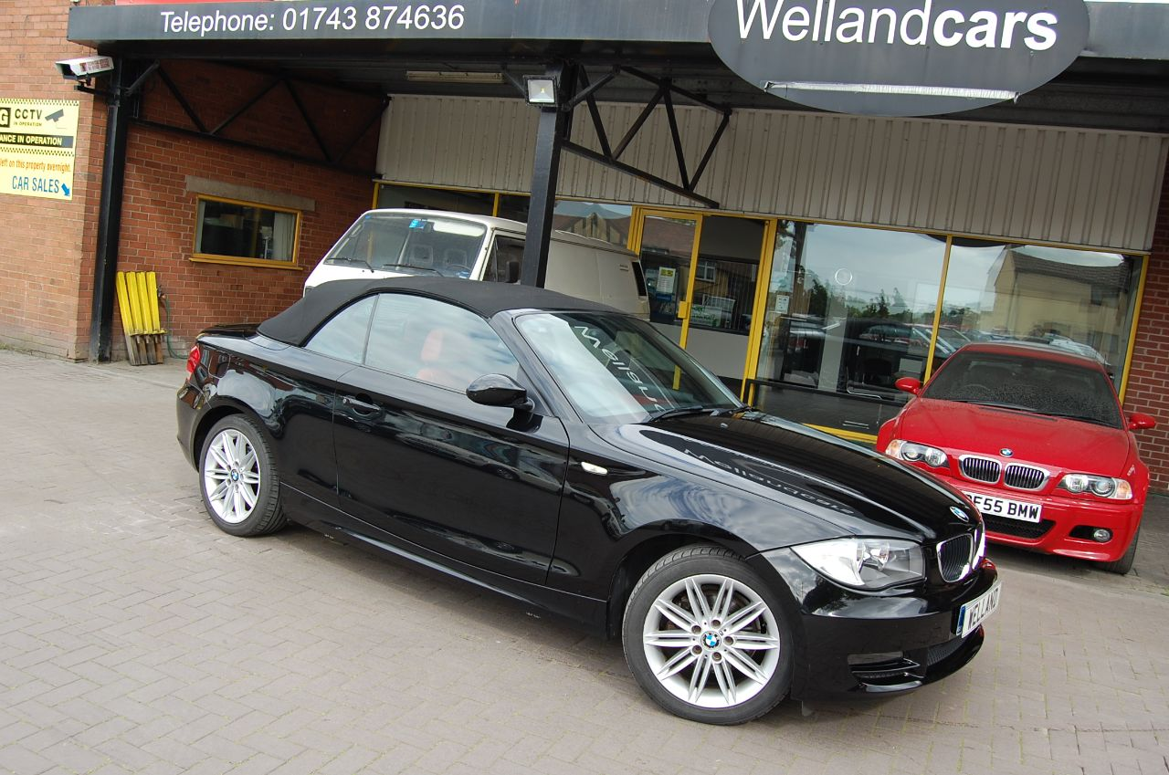 BMW 1 Series 2.0 120d SE SPORT CONVERTIBLE 6 SPEED RED LEATHER FULL SERVICE HISTORY Convertible Diesel Black at Welland Cars Shrewsbury