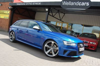 Audi RS4 AVANT 4.2 TFSI QUATTRO S TRONIC ONLY 45,000 MILES HUGE SPECIFICATION Estate Petrol BlueAudi RS4 AVANT 4.2 TFSI QUATTRO S TRONIC ONLY 45,000 MILES HUGE SPECIFICATION Estate Petrol Blue at Welland Cars Shrewsbury