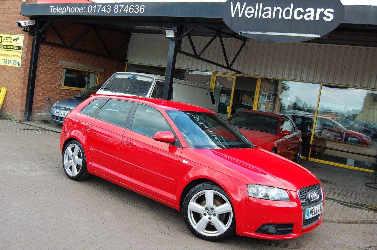 Audi A3 2.0TDI SPORTBACK S LINE - FULL LEATHER - FULL SERVICE HISTORY - STUNNING Hatchback Diesel Red at Welland Cars Shrewsbury
