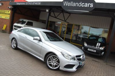 Mercedes-Benz E Class E220 2.1 CDI AMG SPORT COUPE AUTOMATIC HUGE SPECIFICATION LOW MILEAGE Coupe Diesel SilverMercedes-Benz E Class E220 2.1 CDI AMG SPORT COUPE AUTOMATIC HUGE SPECIFICATION LOW MILEAGE Coupe Diesel Silver at Welland Cars Shrewsbury